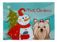 Snowman with Yorkie Yorkishire Terrier Fabric Placemat
