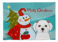 Carolines Treasures  BB1828PLMT Snowman with Maltese Fabric Placemat - Large