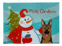 Carolines Treasures  BB1831PLMT Snowman with German Shepherd Fabric Placemat
