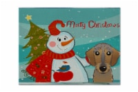 Snowman with Wirehaired Dachshund Fabric Placemat