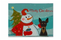 Carolines Treasures  BB1860PLMT Snowman with Min Pin Fabric Placemat