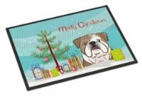 Christmas Tree and English Bulldog  Indoor or Outdoor Mat 18x27