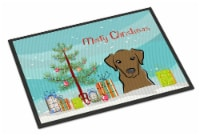 Christmas Tree and Chocolate Labrador Indoor or Outdoor Mat 24x36