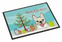 Christmas Tree and French Bulldog Indoor or Outdoor Mat 24x36