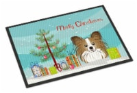 Christmas Tree and Papillon Indoor or Outdoor Mat 24x36