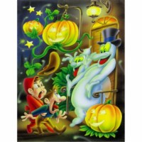 Scary Ghosts and Halloween Trick or Treaters Flag Canvas House Size - House Size