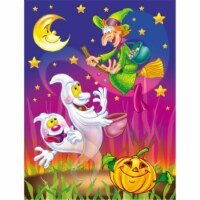 Witch and Ghosts Halloween Flag Canvas House Size