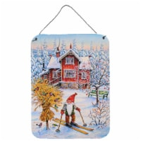 Christmas Gnome Skiing Wall or Door Hanging Prints - 16HX12W
