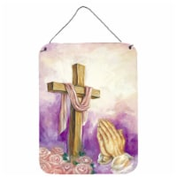 Easter Cross with Praying Hands Wall or Door Hanging Prints