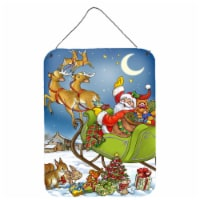 Christmas Santa taking Off Wall or Door Hanging Prints - 16HX12W