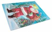 Christmas Santa Rining the Bell Glass Cutting Board Large - 12Hx15W