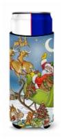 Christmas Santa taking Off Ultra Beverage Insulators for slim cans - Slim Can