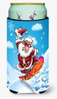Christmas Santa Claus Snowboarding Tall Boy Beverage Insulator Hugger - Tall Boy