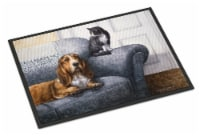 Basset Hound and Cat on couch Indoor or Outdoor Mat 24x36 - 24Hx36W