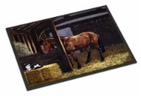 Horse In Stable with Cat Indoor or Outdoor Mat 24x36