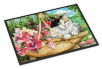Carolines Treasures  CDCO0178MAT Cat In Basket Indoor or Outdoor Mat 18x27