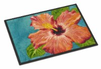 Coral Hibiscus by Malenda Trick Indoor or Outdoor Mat 18x27