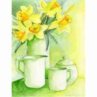 Yellow Daffodils by Maureen Bonfield Flag Canvas House Size - House Size