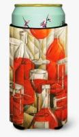 Red Wine Bottles and Glasses Tall Boy Beverage Insulator Hugger