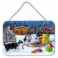 Christmas Mush Siberian Husky Wall or Door Hanging Prints - 8HX12W