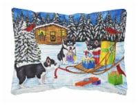 Christmas Mush Siberian Husky Fabric Decorative Pillow - 12Hx16W