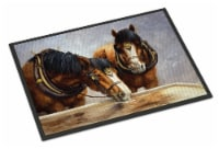 Horses Taking a Drink of Water Indoor or Outdoor Mat 18x27 - 18Hx27W