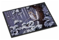 Owl on a Tree Branch in the Snow Indoor or Outdoor Mat 24x36
