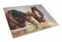Horses Taking a Drink of Water Glass Cutting Board Large - 12Hx15W