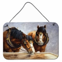Horses Taking a Drink of Water Wall or Door Hanging Prints - 8HX12W
