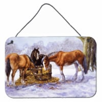 Horses eating Hay in the Snow Wall or Door Hanging Prints - 8HX12W