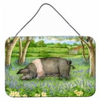 Pig In Bluebells by Debbie Cook Wall or Door Hanging Prints - 8HX12W
