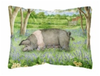 Pig In Bluebells by Debbie Cook Fabric Decorative Pillow - 12Hx16W