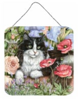 Black and White Cat in Poppies Wall or Door Hanging Prints
