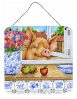 Pig trying to reach the Apple in the Window Wall or Door Hanging Prints - 6HX6W