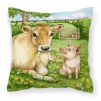 Pigs and Cow Good Friends Canvas Decorative Pillow
