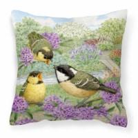 Coal Tits Feeding Time Canvas Decorative Pillow