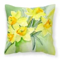 Daffodils by Maureen Bonfield Canvas Decorative Pillow - 18Hx18W