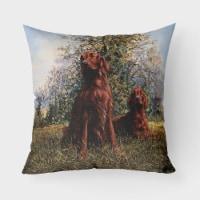 Red Irish Setters by Michael Herring Canvas Decorative Pillow - 18Hx18W