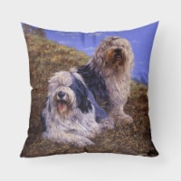 Old English Sheepdogs by Michael Herring Canvas Decorative Pillow - 18Hx18W