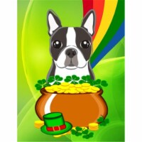 Boston Terrier St. Patrick's Day Flag Canvas House Size
