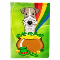 Wire Haired Fox Terrier St. Patrick's Day Flag Canvas House Size