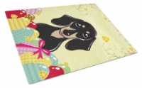 Smooth Black and Tan Dachshund Easter Egg Hunt Glass Cutting Board Large - 12Hx15W