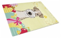 Wire Haired Fox Terrier Easter Egg Hunt Glass Cutting Board Large - 12Hx15W