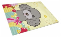 Silver Gray Poodle Easter Egg Hunt Glass Cutting Board Large - 12Hx15W