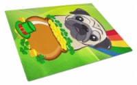 Fawn Pug St. Patrick's Day Glass Cutting Board Large