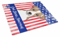 God Bless American Flag with Jack Russell Terrier Glass Cutting Board Large