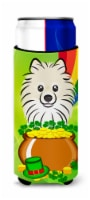 Pomeranian St. Patrick's Day Michelob Ultra beverage Insulator for slim cans
