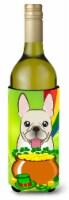 French Bulldog St. Patrick's Day Wine Bottle beverage Insulator Hugger - 750 ml