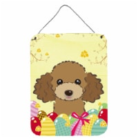 Chocolate Brown Poodle Easter Egg Hunt Wall or Door Hanging Prints - 16HX12W