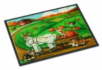 Corgi Pumpkin Ride with Goat Indoor or Outdoor Mat 18x27